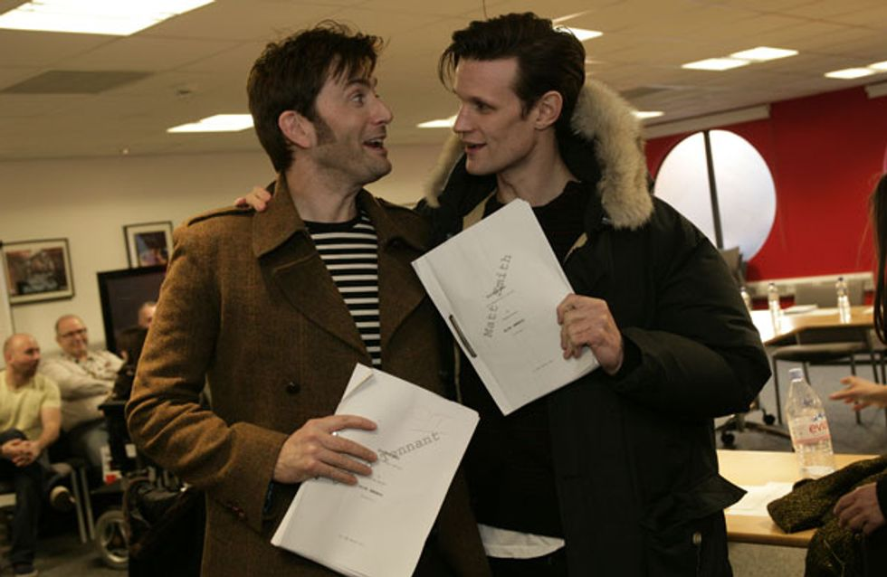Doctor Who 50th Anniversary pictures: David Tennant and Matt Smith film together