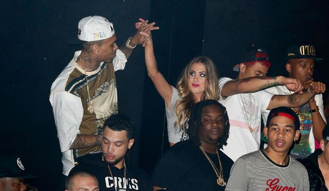 Chris Brown with a waitress a few weeks ago