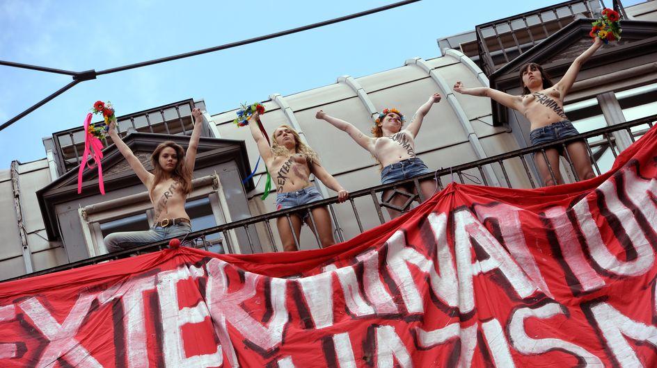 Femen : Une nouvelle action choc contre l'extrême droite (Vidéo)