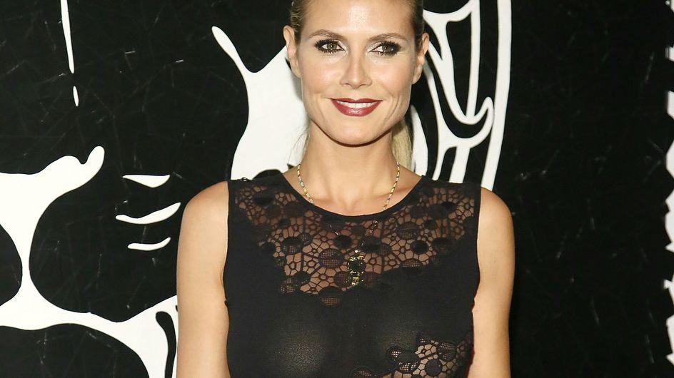 Heidi Klum sans soutien-gorge et sexy à la soirée Versace (Photos)