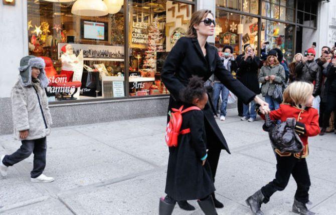 Angelina Jolie with her children