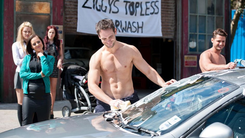 Hollyoaks 12/06 - Ziggy arranges a topless carwash to raise the cash
