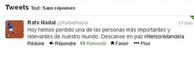 Le mauvais tweet de Nadal sur Mandela