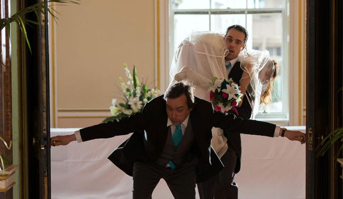 Dr Browning literally drags Mercy down the aisle!