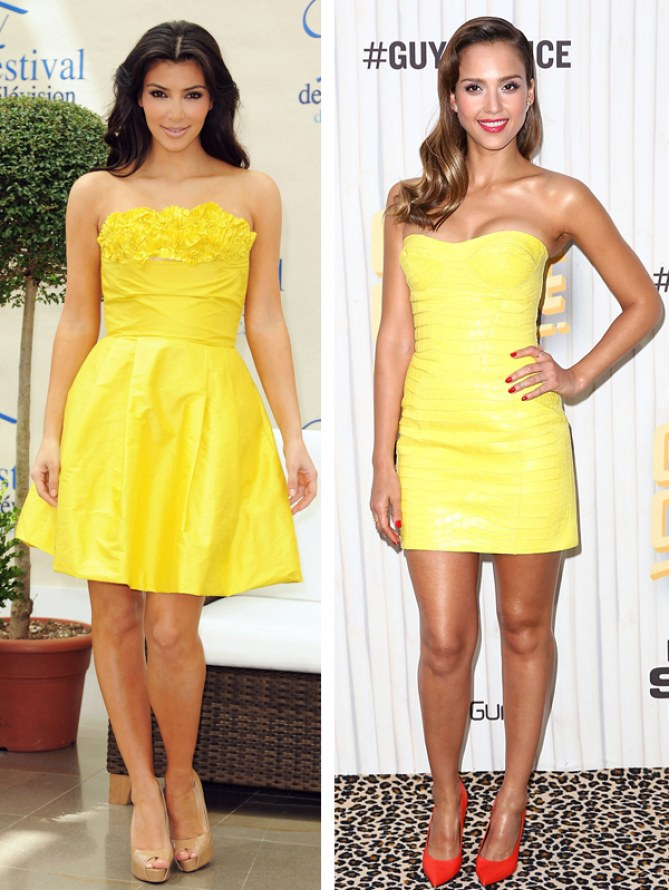 Kim Kardashian VS Jessica Alba : Qui porte le mieux la robe bustier jaune ?