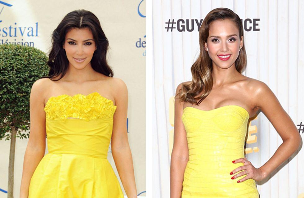 Kim Kardashian vs Jessica Alba : Qui porte le mieux le jaune ?