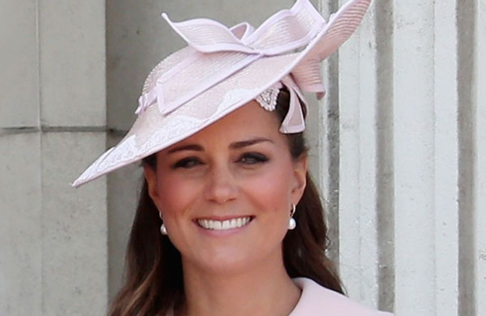 Kate Middleton wears pink Alexander McQueen