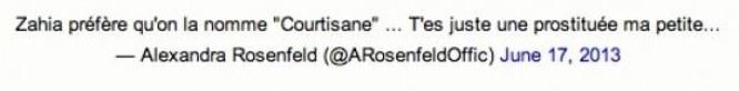 Le Tweet d'Alexandra Rosenfeld