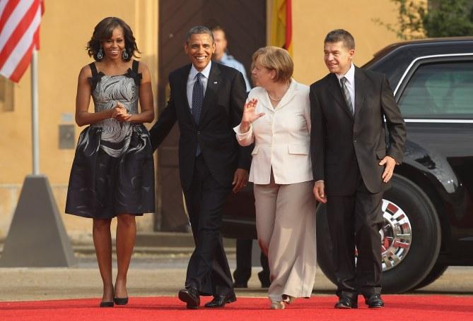 Michelle Obama aux côtés de son mari, Barack Obama et de la chancelière allemande Angela Merkel