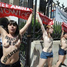 Femen : Elles interpellent François Hollande, seins nus, au Bourget (Vidéo)