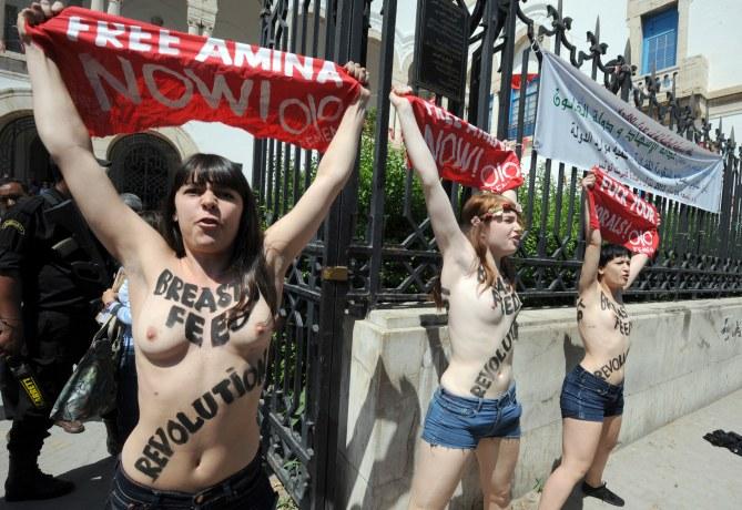 Les trois Femen en Tunisie