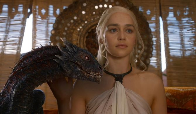 Daenerys Targaryen and her dragon
