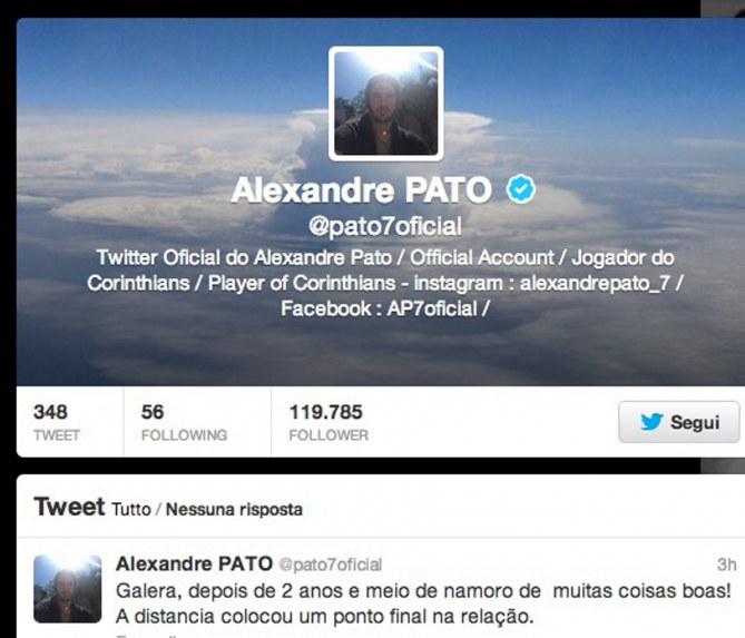 L'annuncio di Pato su Twitter