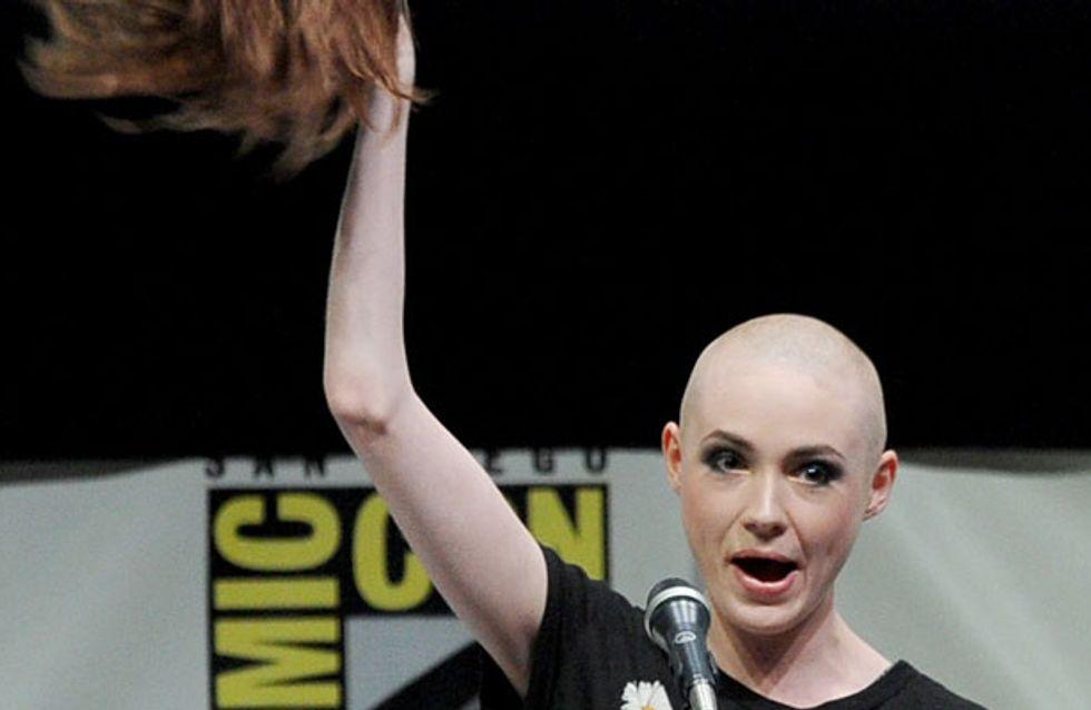 Doctor Who's Karen Gillan reveals shaved head at Comic Con