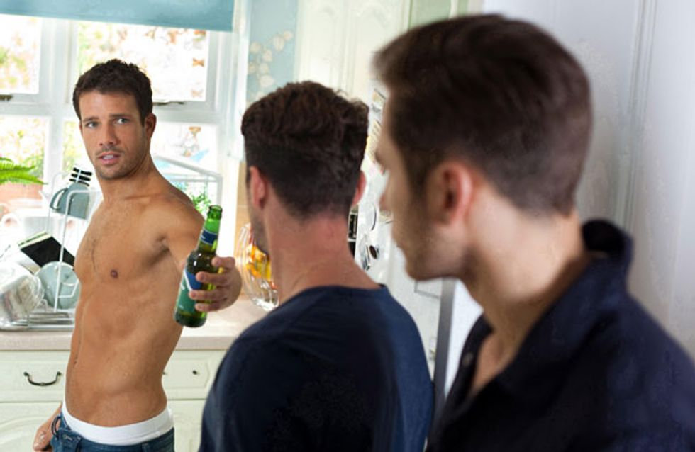Hollyoaks 05/08 - The Roscoe boys are not happy about Sandy's new man