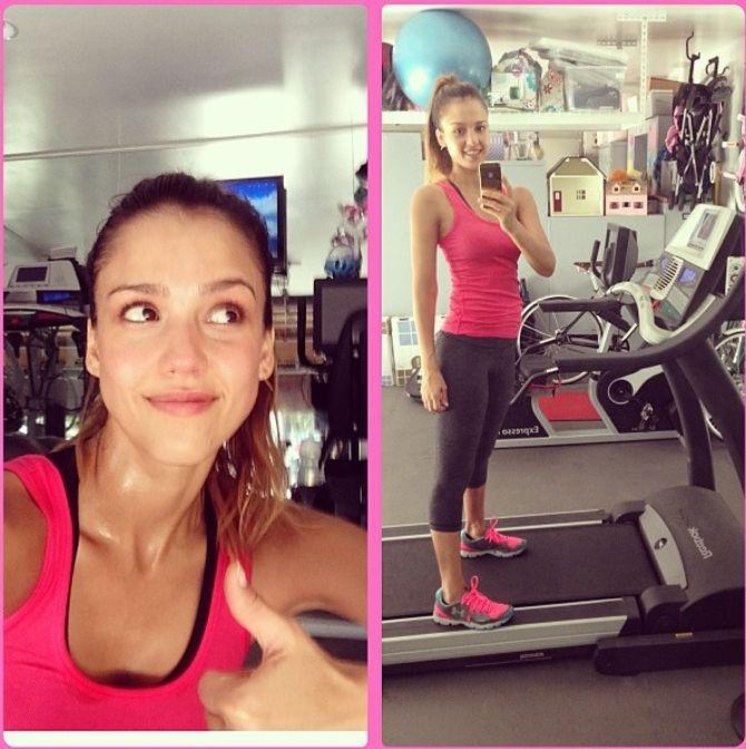 Jessica Alba en pleine séance de sport