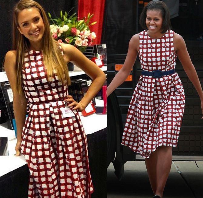 Jessica Alba et Michelle Obama avec la même robe
