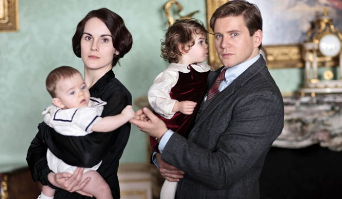 Lady Mary and Tom Branson with their children in series 4