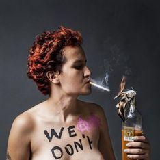 Femen : Amina Tyler pose seins nus, avec une cigarette et un cocktail molotov (Photos)