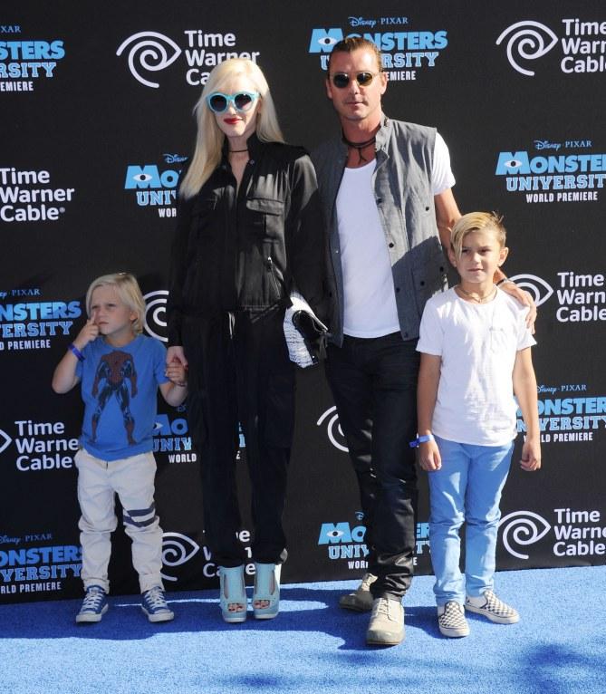 Gwen Stefani con il marito e i figli