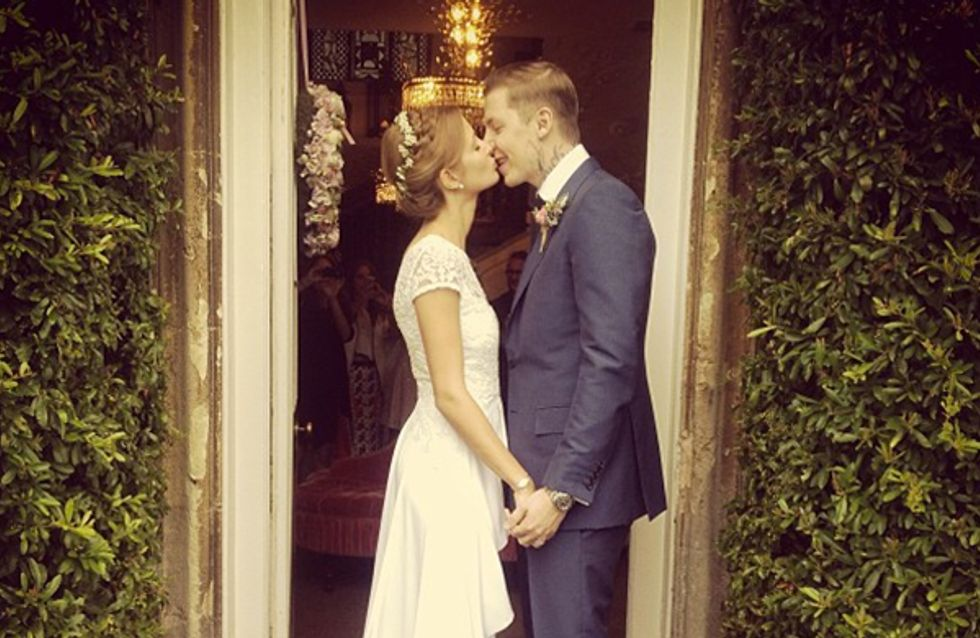 Millie Mackintosh marries in vintage lace wedding dress, floral garland and Christian Louboutins - what else!