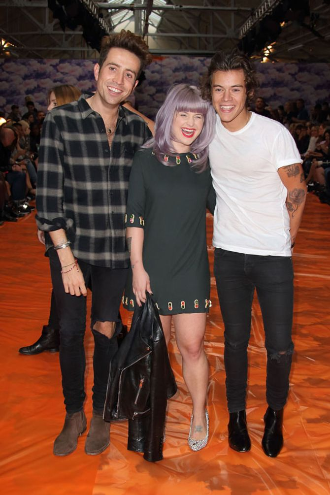 Nick Grimshaw, Kelly Osbourne and Harry Styles