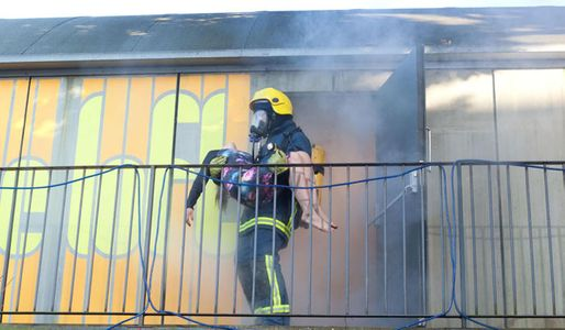 Fire fighters rescue Sinead from the flames