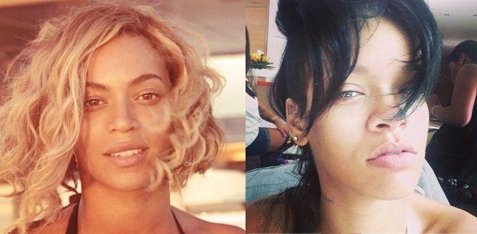 Beyoncé et Rihanna sans maquillage