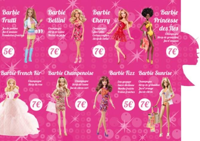 La carte du Barbie bar