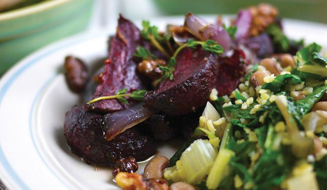 Gousto's Honey Roasted Beetroot with Bulgar, Crunchy Walnuts & Beans