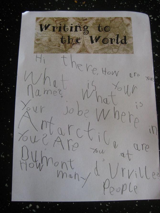 La lettre de Toby en Antarctique