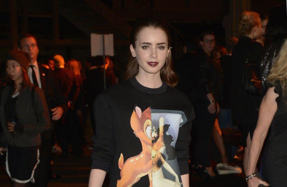 Lily Collins, hyper lookée au défilé Givenchy