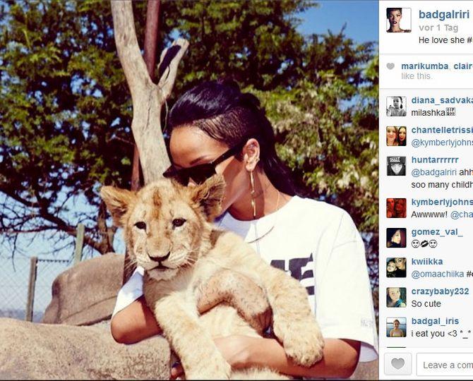 Rihanna & ein Löwenbaby