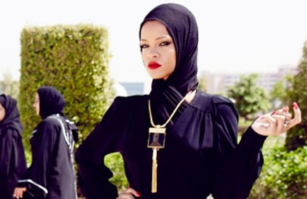 Rihanna covers up for Abu Dhabi mosque photo shoot but it doesn't go down too well