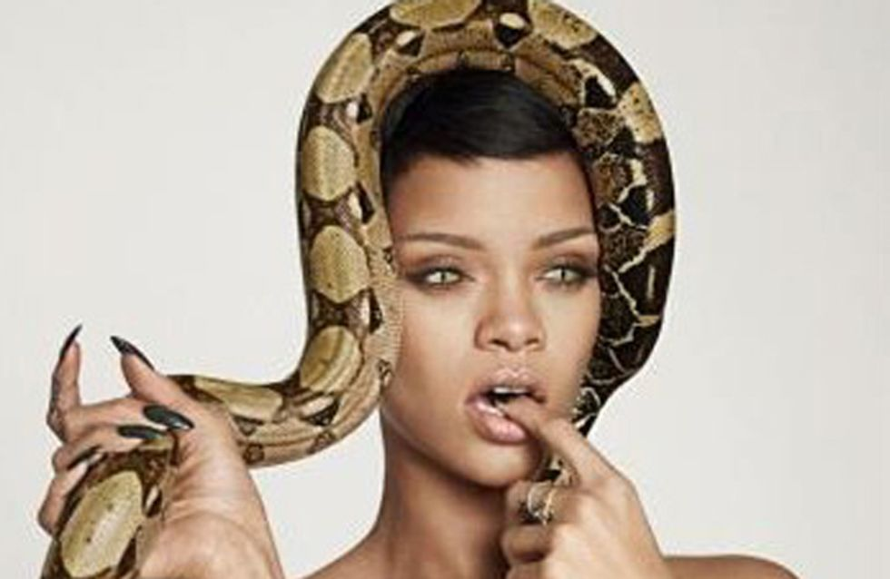Rihanna poses topless with snake for GQ's 25th anniversary issue