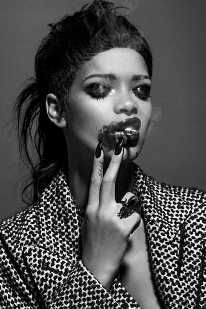 Rihanna goes glam goth for 032c Magazine photo shoot