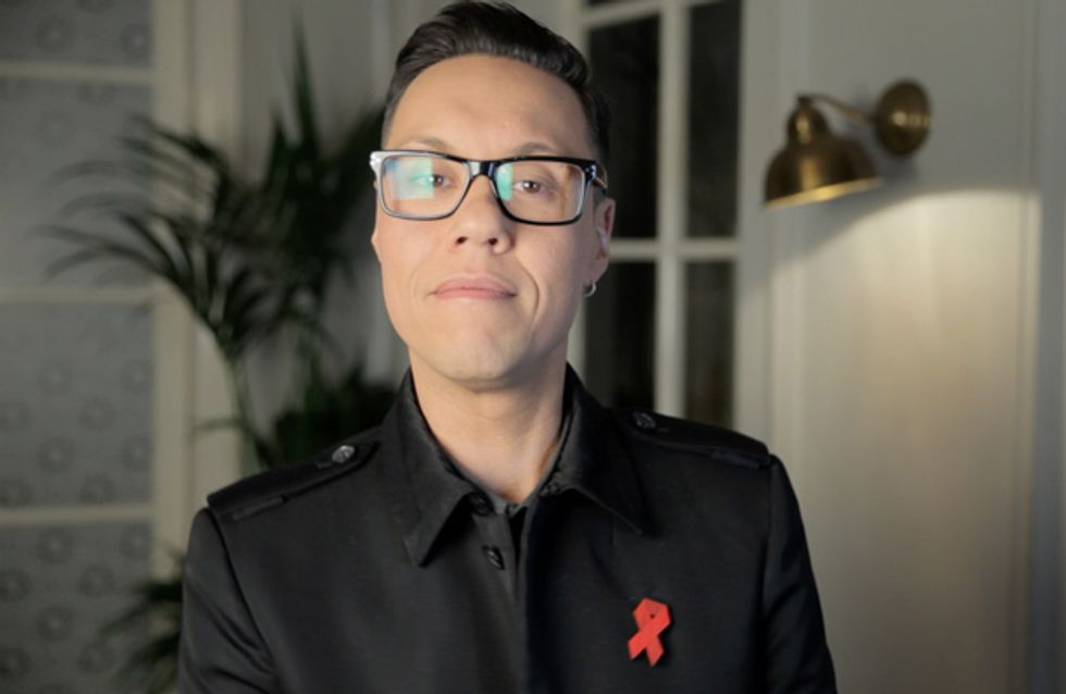 Celebrities wear red ribbon brooches for World AIDS Day