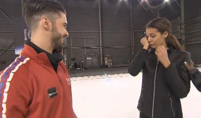 Chloé Mortaud en larmes en répétition (Ice Show)