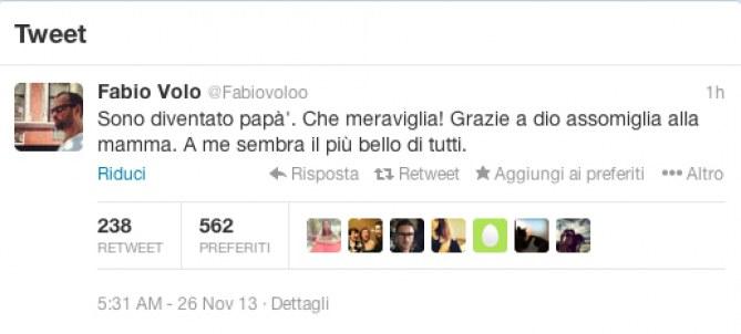 Il messaggio pubblicato da Fabio Volo sul suo profilo Twitter