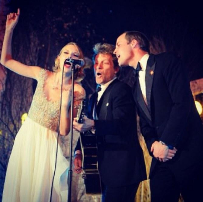 Taylor Swift con Bon Jovi y el príncipe Guillermo de Inglaterra