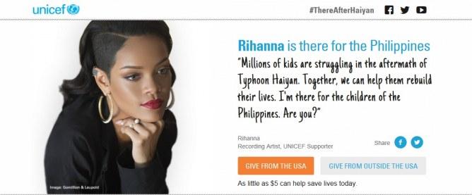 Rihanna pour l'UNICEF