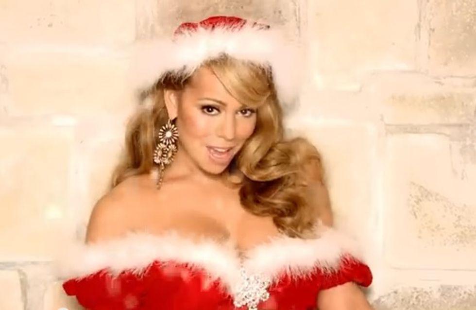 Mariah Carey : Mère Noël sexy pour l'enregistrement de son concert (Photos)