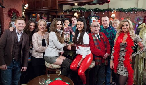 Cheryl Cole with the Coronation Street cast
