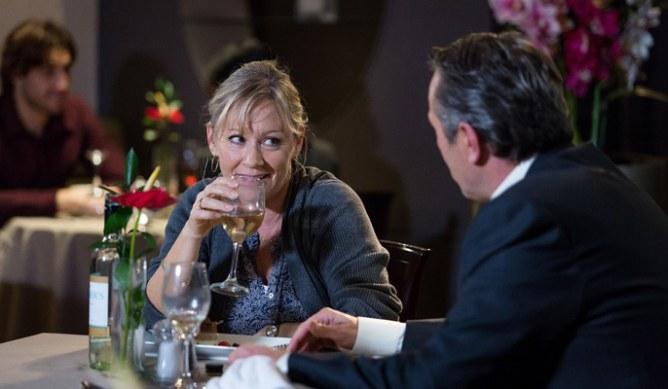Carol and David enjoy a flirty meal