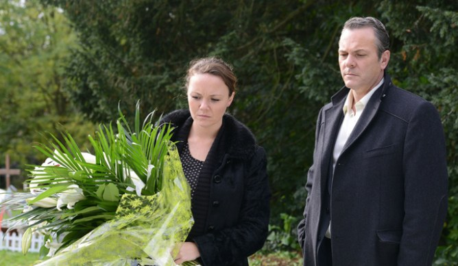 Janine and David visit Pat's grave