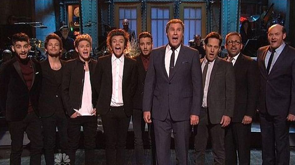 One Direction face off against Anchorman 2 stars on SNL