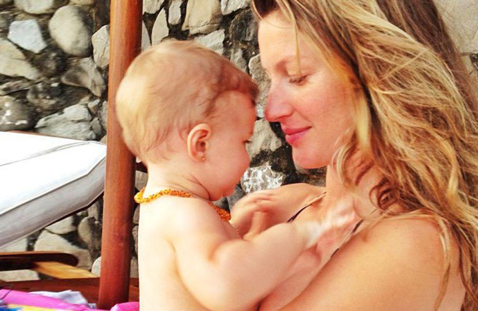 Gisele Bündchen : Elle allaite sa fille en pleine séance de maquillage (photo)