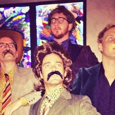 Made in Chelsea boys attend the Anchorman 2 film premiere in matching 70s costumes