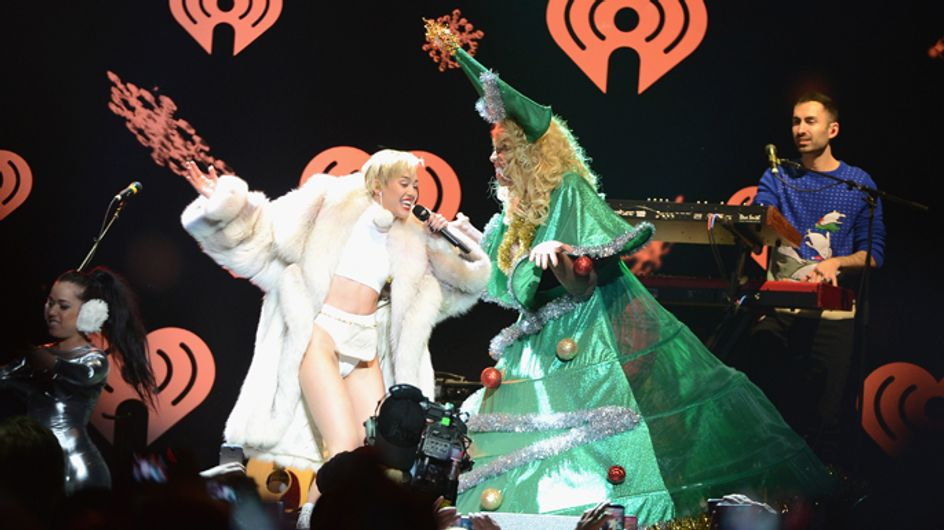 Miley Cyrus has holiday spirit: Star passes out in Christmas card photo after Jingle Ball