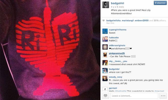 Rihanna en Germeii sur Instagram